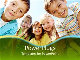 Elegant slide deck enhanced with five smiling kids, three girls framed by two boys with happy smiling faces