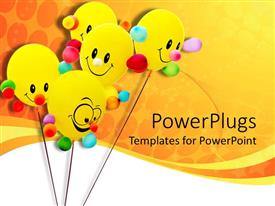 Colorful presentation having five yellow colored smiley ballons on an orange background