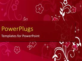 Colorful PPT theme having floral design with white and pink flowers on red background