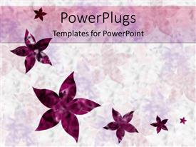 Beautiful PPT theme with floral pattern with six various sized purple flowers on gradient light purple and white background