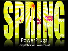Beautiful PPT theme with flowery spring text on black background
