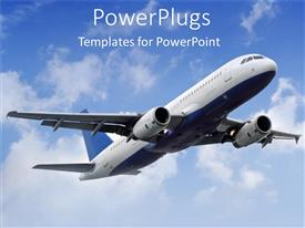 Colorful PPT layouts having flying plane in the sky with white clouds, flying airplane