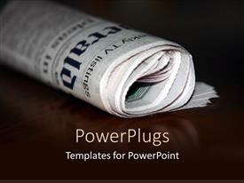 Elegant PPT theme enhanced with a folded newspaper with its reflection in the background