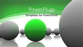 PPT layouts enhanced with lots of ash colored balls with a green one in the middle