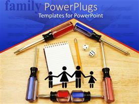Beautiful presentation with formation of a house with screw drivers, pencils and jotter