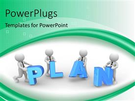 Beautiful slides with four 3D men working together on a PLAN on green and white background