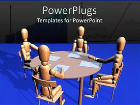 Audience pleasing slide set featuring four 3D wooden figures sitting around a round table with white papers in front of them