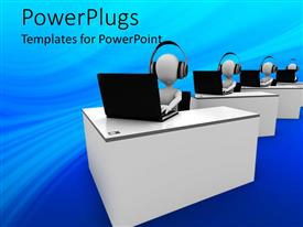 PPT layouts consisting of four animated white human figures with headsets and laptops