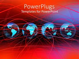 PPT layouts with four blue colored earth globe entangled in lots of red lines