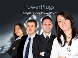 PPT layouts enhanced with four business people standing together over a black background