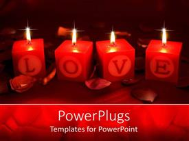 Presentation theme with four candles depicting the world love with dark background