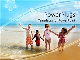 Colorful slides having four children on beach, diversity, flower background