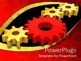 Colorful presentation theme having four connected gears with three golden gears and one red gear between them