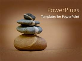 PPT theme with four different sizes of pebbles stacked on each other