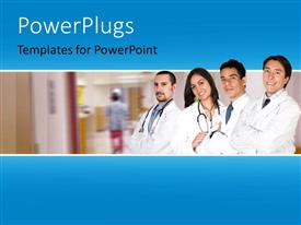 Slide deck with four doctors standing in line and smiling in a hospital background