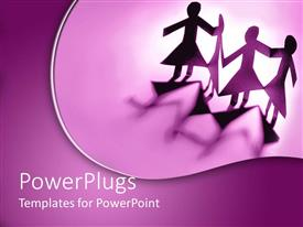 Colorful slide deck having four female paper cut kids on a purple background