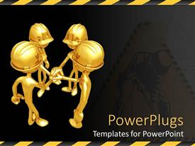 Amazing PPT theme consisting of four gold figures in hard hats grasping hands in center, team work