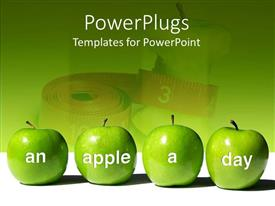 Beautiful PPT theme with four green apples with words An Apple A Day in front of measuring tape
