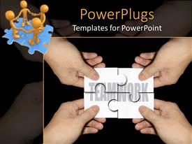 Beautiful presentation theme with four hands with jigsaw puzzle pieces forming the word teamwork and four 3D golden figures holding hands standing on puzzle made of four blue jigsaw puzzle pieces