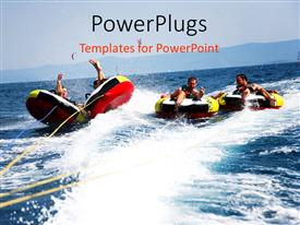Beautiful slide deck with four happy friends having fun in bouncing boat on sea surface