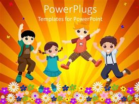 PPT theme featuring four happy kids jumping in garden of flowers in yellow background