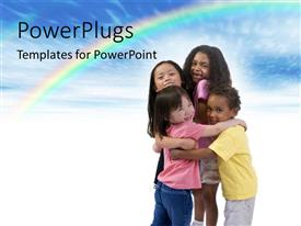 Colorful slides having four happy little kids hugging on white background with rainbow in sky