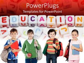 Audience pleasing PPT theme featuring four kids carrying school bags and learning materials with education cube