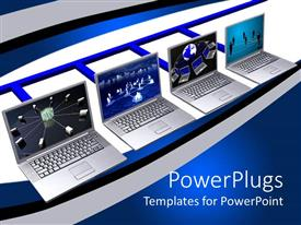 Amazing theme consisting of four laptops showing various networks on their screens on blue and white background