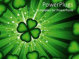 Elegant theme enhanced with four leaf clover and hearts frame on green stardust background