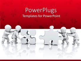 Presentation design consisting of four men solving the puzzles over the red background