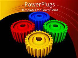 Colorful PPT layouts having four multi colored gears on a black and red background