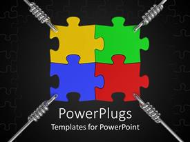 Presentation enhanced with four multi colored puzzles helod with springs on a blck background
