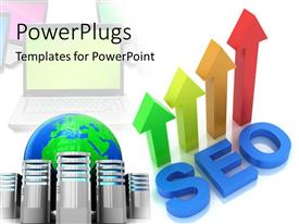 PPT theme consisting of four multicolored 3D arrows with text which spell out the word