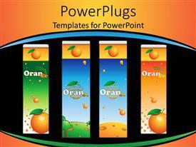 Elegant PPT theme enhanced with four orange juice containers, black, blue, orange, green background