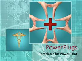 PPT theme enhanced with four pairs of human hands forming a cross ign round a cross