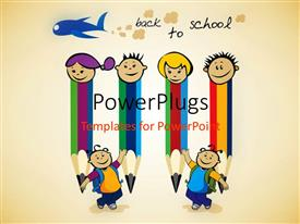 Colorful slides having four pencil friends prepare for back to school with light brown color