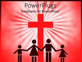 PPT layouts having four people silhouettes holding hands in front of big red cross, family with mother, father and girl and boy