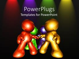 Elegant presentation design enhanced with four shinny multi colored 3D human characters on a black background