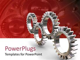 PPT layouts featuring four silver colored interlocking gears on red and white background