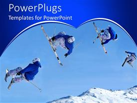 Elegant presentation design enhanced with four ski divers jumping in mid air over snow mountains
