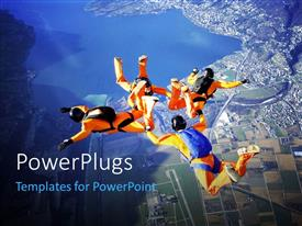 Audience pleasing PPT layouts featuring four skydivers performing stunt in sky over modern city with lakes and mountains