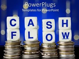 Slide set enhanced with four stacks of coins with CASH FLOW text in dies