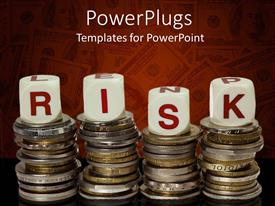 Beautiful theme with four stacks of coins with lettered red and white dice spelling risk