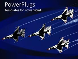 Top aviation powerpoint templates backgrounds slides and ppt themes presentation theme enhanced with four thunder bird jet planes on a dark blue background toneelgroepblik Gallery