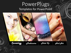 Amazing PPT layouts consisting of four tiles with different make up procedures and a smiling face