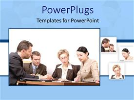 Audience pleasing theme featuring four tiles showing corporately dressed business people having a meeting