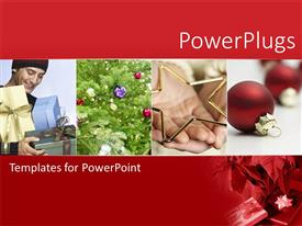 Presentation theme with four tiles showing man holding gifts and christmas ornaments and tree