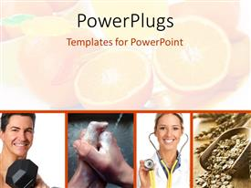 Colorful PPT layouts having four tiles showing a theme of good health and some cut oranges