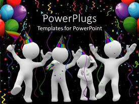 Audience pleasing presentation theme featuring four white 3D figures celebrating with party hats, colorful ribbons and balloons on black background