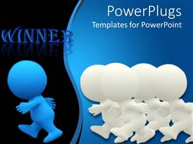 Presentation theme enhanced with four white colored 3D Characters following a blue one